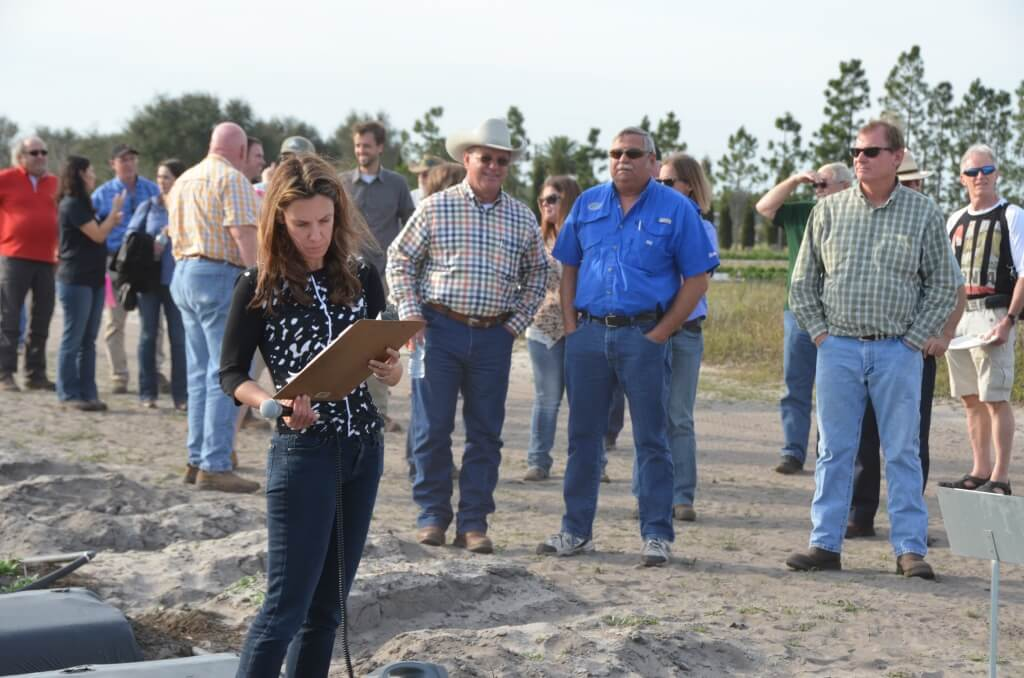 Dr. Natalia Peres works with a group of growers.